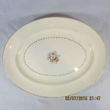 "Paden City Pottery Platter Cream Floral Center Bouquet 14"" USA Made Gold Trim"