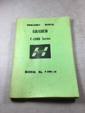 Huber F-1000 Series Grader Operators Manual