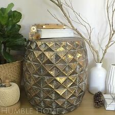 Geometric Design Metal Side Table/Drum Stool/Rustic Gold/Coffee Table
