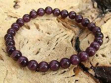 MEN Natural Gemstone Stretchable bracelet all 8mm PURPLE CATS EYE beads