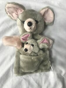 Vintage 1985 LTD Commodities Mouse Mice Mom & Baby Gray Hand Puppet