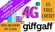 Giffgaff Nano/Micro/Standard 3 in 1 SIM FREE £5 Credit : Unlimited Data & Text !