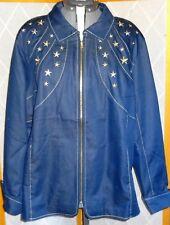 BOB MACKIE Wearable Art NWT Plus Sz 2X Dark Blue Gold Silver Star Zipper Jacket