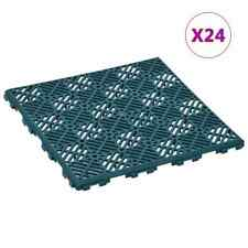 vidaXL Garden Tiles 24x Plastic Green 29x29cm Flooring Deck Patio Pavers Tiles
