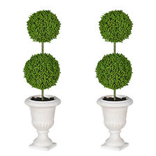 "2-Tier Ball Topiary Tree 4x16"" Cream Pot Set Of 2 - 29572CREA"