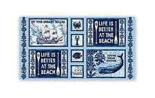 Ocean Beach Nautical Whale Blue Fabric Studio E 3990 Indigo Coastal 24