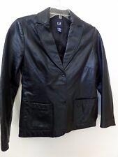 "GAP Womens sz S black soft leather blazer jacket Coat B=36"" ~ Vintage"