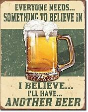 Everyone Needs Something Beer funny metal sign 400mm x 320mm (de)