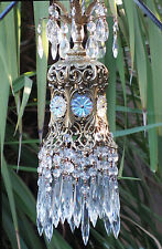 SWAG Jeweled Hollywood lamp chandelier Vintage brass pl Spelter AB