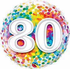 Qualatex Arc-en-ciel Confetti Âge 80 / 80e Anniversaire 18 pouces Ballon Feuille