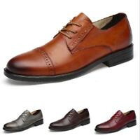 Mens Dress Formal Wedding Leather Shoes Business Lace up Oxfords British Casual
