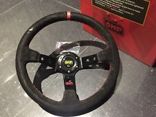 New 350mm Universal OMP Black suede Red Stitching Deep Dish Steering Wheel