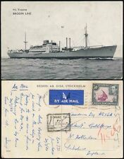 KENYA KUT 1953 POSTAGE DUE 1d on PPC SHIP YVONNE BRODIN LINE to GB