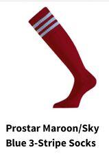 Junior Prostar 3-Stripe Football Socks Maroon/Sky Blue Size UK 3-6 (Euro 36-39)