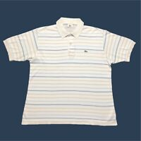 Mens Vintage Lacoste Polo Shirt Large/5 White Striped Short Sleeve
