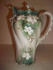 Antique R S Prussia Chocolate Coffee Tea Pot White Flowers on Green Victorian