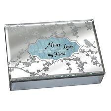Mom Love Woven Around My Heart Glass Keepsake Music Box