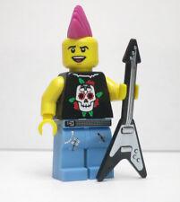Punk Rocker Pink Mohawk V Guitar Series 4 Lego mini figure minifigure fig