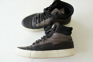 vince. 'newman' brown/black leather hightop sneakers…size eu36…vgc...