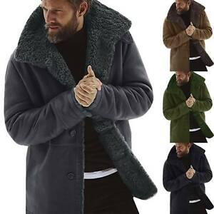 Winter Mens Thick Warm Trench Outwear Lapel Coat Fleece Fur Lined Jacket Parka