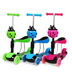 5 in 1 Kids Toddler Child Kick Push Scooter Flashing Wheel T-Bar Tilt Ride Seat