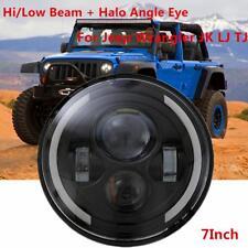 CREE 7'' Round LED Halo Angel Eyes Headlight DRL Light For Jeep Wrangler Harley