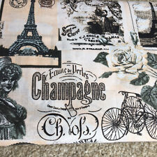 French Champagne, vintage bicycle, roses 100% Cotton Fabric. Price per 1/2 meter