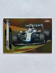 2020 Topps Chrome Formula 1 Nicholas Latifi Williams Racing Gold Wave #40 /50