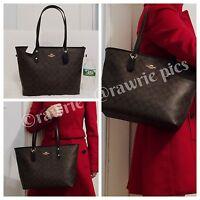 NWT COACH SIGNATURE CITY ZIP TOTE BAG Black Brown Shoulder Handbag F58292