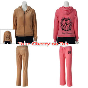 Juicy Couture Embellished Velour Jacket Set Hoodie and Pants Beige