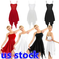 Women Adult Modern Lyrical Dance Costume Asymmetric High-Low Contemporary Dress