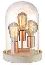 Vintage Lampe de Table Indus Rétro Ancien Blanc / Cuivre Ronde Lumière