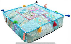 "Vintage Cotton Patchwork Square Stool Pillow Cover Indian 22"" Ottoman Floor Pouf"