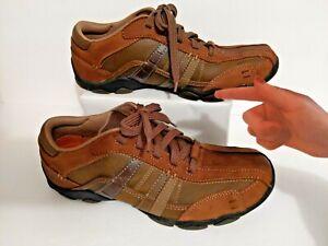 Men's Skechers Size 8.5 Casual Leather Sneaker Brown Memory Foam 62607 DSCH