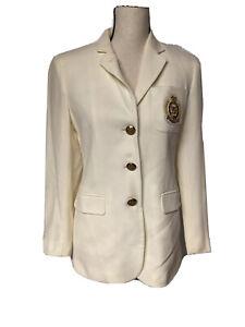 Lauren Ralph Lauren Blazer Jacket Cream Crest Patch Flag Worsted Wool Blend 4P