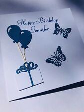 Personalised Handmade Birthday Card Ladies Girls Mum Butterflies Women's