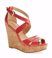 c2dc72ac57af Michael Kors Sienna Strapy CORK Wedge Patent Leather SANDAL SZ 10 NEW