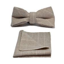 Beige Birdseye Check Bow Tie & Pocket Square / Handkerchief Set