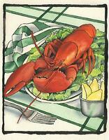 CULINARY FOOD KITCHEN CHEF COOK RED LOBSTER SEAFOOD LEMONS SILVER FORK PAINTING