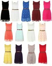 Floral Sleeveless Dresses for Women with Belt