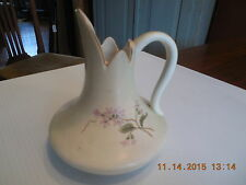 ANTIQUE HAMPSHIRE POTTERY  EWER...CREAM WITH PINK FLOWERS