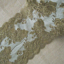 "6.5"" Wide Stretch Floral Lace Olive Lingerie, Gloves, Bow, Bonnets y0344"