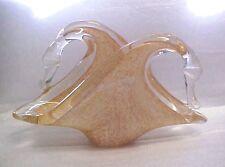 Elegant Murano Lavorazione Arte Glass Two Swans Napkin Holder Brownish Yellow