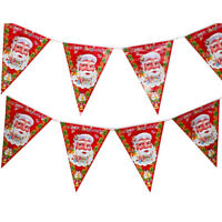 Santa Claus Xmas Merry Christmas Tree Hanging Paper Flag Banner Home Decoration