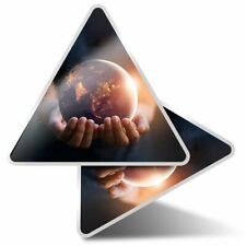 2 x Triangle Stickers 10 cm - World Peace Climate Change Earth  #16165