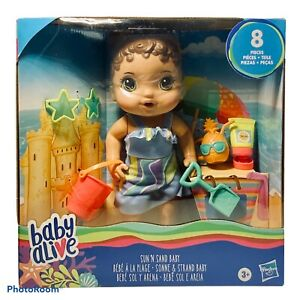 Baby Alive Sun 'N Sand Baby with Beach Accessories (Brunette) - New 2020