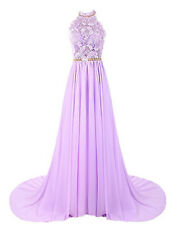 Stock Long Lace Chiffon Bridesmaid Prom Dress Formal Evening Party Ball Gown6-20