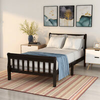 Durable Twin Wood Platform Bed Frame Slatted Bed Base Twin Size w/ Headboard