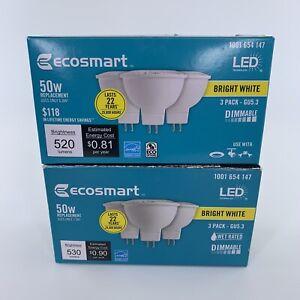 6 Pack EcoSmart 50W Equivalent Bright White MR16 GU5.3 Dimmable LED Light Bulb