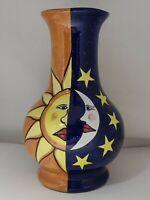 "VTG ""Talavera"" Glazed Hand Painted Clay Vase ""Sun & ""Moon Folk Art"